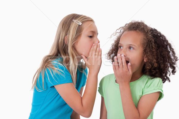 Cute girl whispering a secret to her friend against a white background Stock photo © wavebreak_media