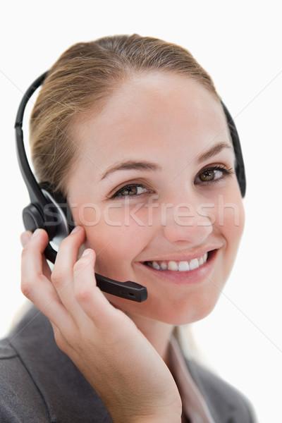 Zdjęcia stock: Szczęśliwy · uśmiechnięty · call · center · agent · pracy · biały