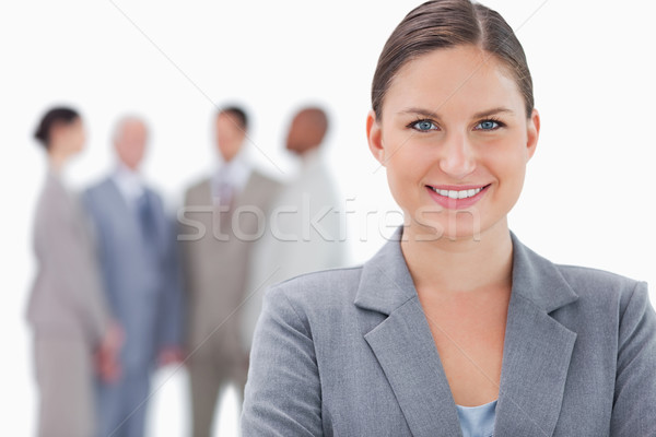 Sorridere imprenditrice colleghi dietro bianco business Foto d'archivio © wavebreak_media