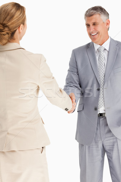 Gelukkig zakenlieden handen schudden witte handen zakenman Stockfoto © wavebreak_media