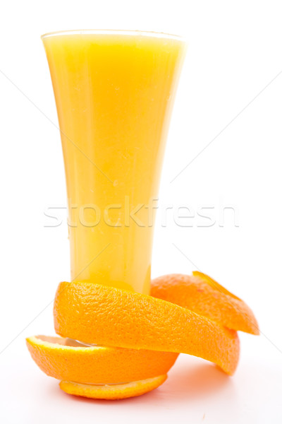 orange peel at the base of a glass against white background Stock photo © wavebreak_media