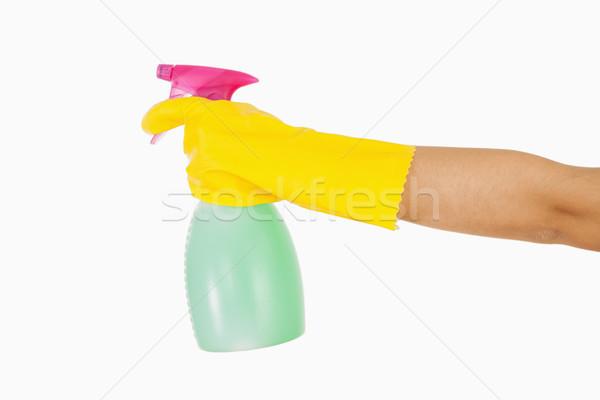 Donna giallo guanti di gomma lavavetri spray Foto d'archivio © wavebreak_media
