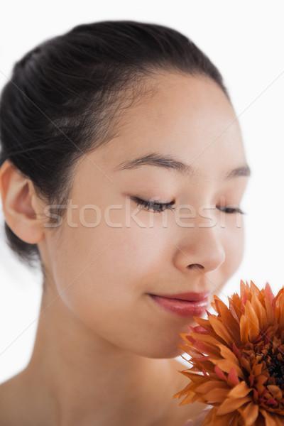 Bella donna fiore felice arancione femminile trucco Foto d'archivio © wavebreak_media