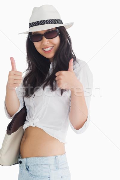 Donna sorridente Hat felice bag femminile Foto d'archivio © wavebreak_media