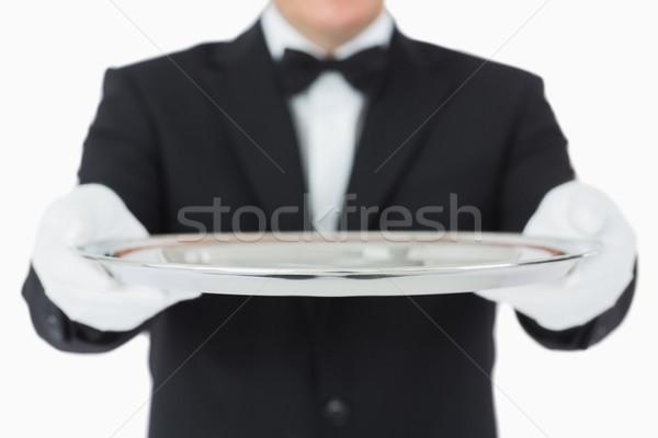 Cameriere argento vassoio entrambi mani Foto d'archivio © wavebreak_media