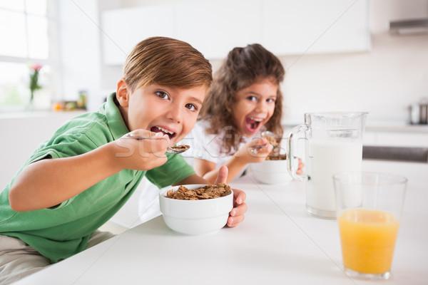 Twee kinderen naar camera eten granen Stockfoto © wavebreak_media