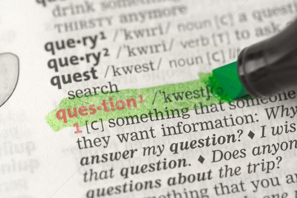 Foto d'archivio: Definizione · questione · dizionario · verde · nero · informazioni