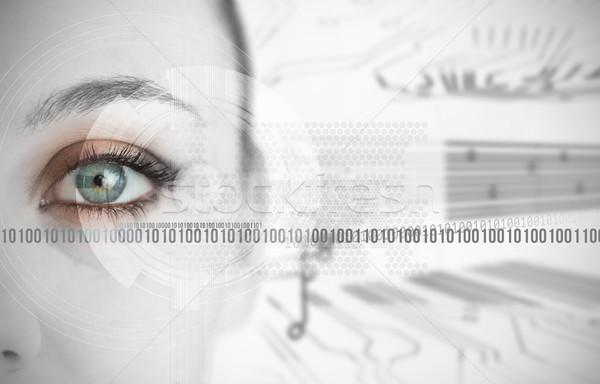 Ojo mujer binario circuito tecnología Foto stock © wavebreak_media
