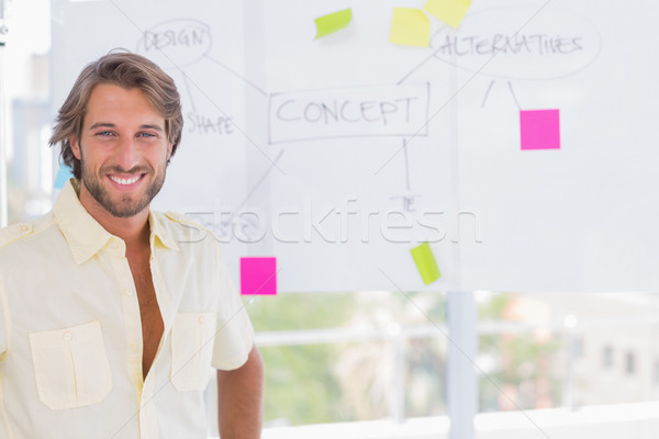 Handsome man standing in front of whiteboard Stock photo © wavebreak_media