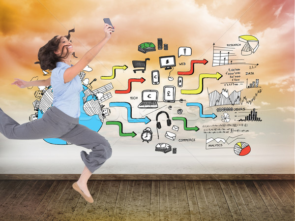 Composite image of happy classy businesswoman jumping while hold Stock photo © wavebreak_media