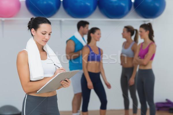 Foto d'archivio: Femminile · iscritto · appunti · classe · fitness