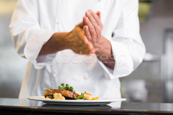 Középső rész szakács só konyha közelkép étterem Stock fotó © wavebreak_media