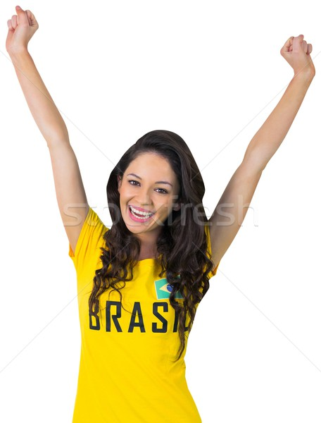 Animado futebol ventilador brasil tshirt branco Foto stock © wavebreak_media