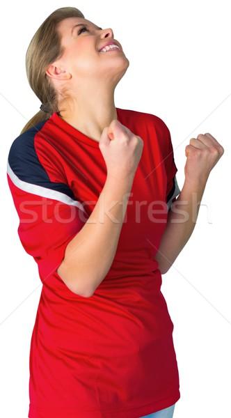 Piłka nożna fan czerwony biały piłka nożna Zdjęcia stock © wavebreak_media
