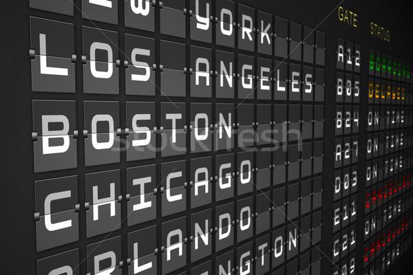 Stockfoto: Vertrektijden · lijst · zwarte · mechanisch · boord · digitaal
