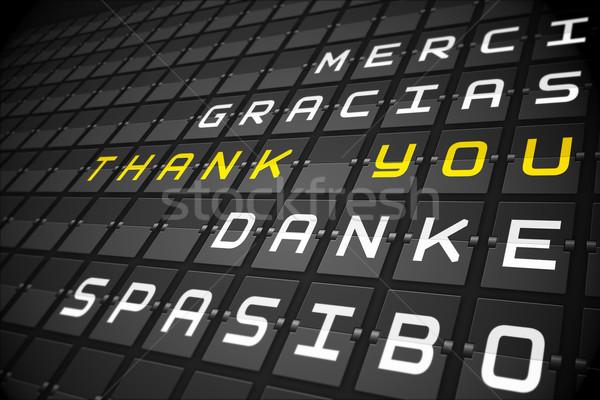 Köszönjük nyelvek fekete gépi tábla digitálisan Stock fotó © wavebreak_media