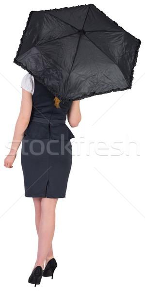 Csinos vörös hajú nő üzletasszony tart esernyő fehér Stock fotó © wavebreak_media