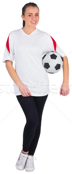 Ziemlich Fußball Fan weiß Ball Energie Stock foto © wavebreak_media