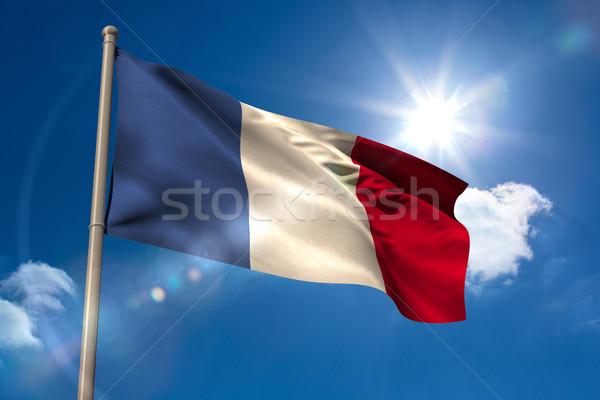 Франция флаг флагшток Blue Sky солнце свет Сток-фото © wavebreak_media