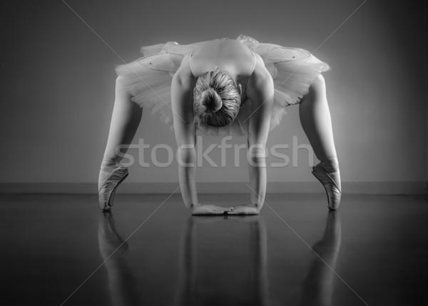 Foto stock: Gracioso · bailarina · para · cima · preto · e · branco · balé · estúdio