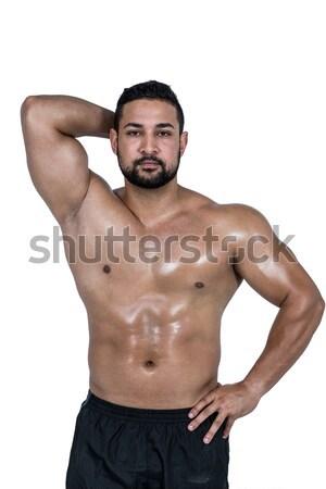 Portré fiatal póló nélkül izmos férfi pózol Stock fotó © wavebreak_media