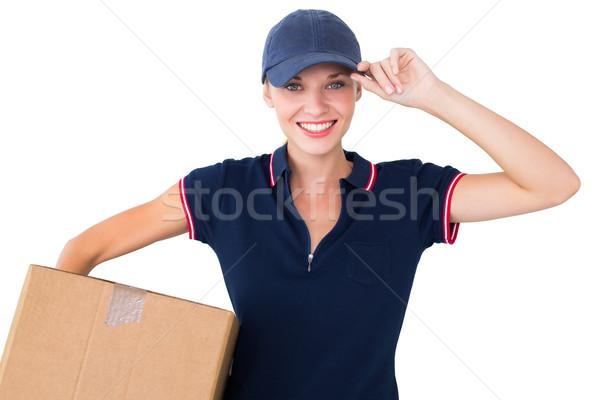 Feliz entrega mujer caja de cartón blanco Foto stock © wavebreak_media