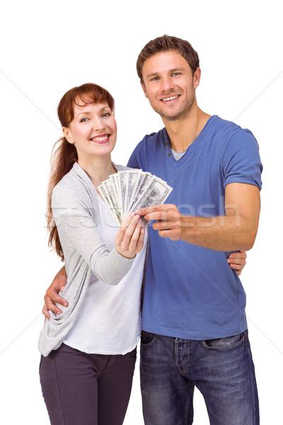 Coppia fan contanti bianco soldi Foto d'archivio © wavebreak_media