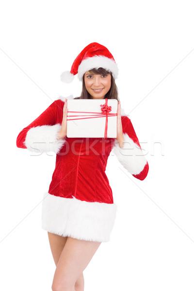 Sexy Święty mikołaj dziewczyna dar biały Zdjęcia stock © wavebreak_media