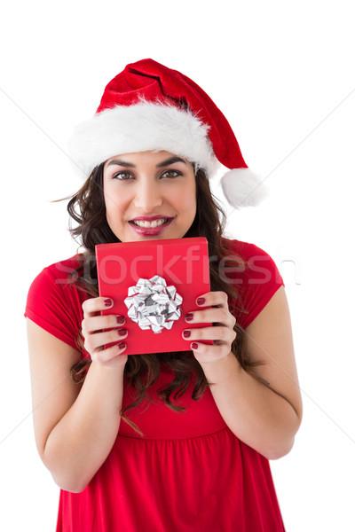 ünnepi barna hajú tart ajándék íj fehér Stock fotó © wavebreak_media