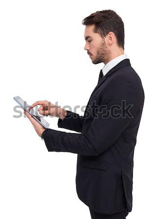 Zagęszczony biznesmen dotknąć tabletka biały Internetu Zdjęcia stock © wavebreak_media