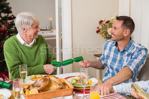 Nagyapa apa húz karácsony otthon nappali Stock fotó © wavebreak_media