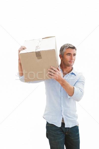 Mosolyog férfi hordoz kartondoboz fehér boldog Stock fotó © wavebreak_media