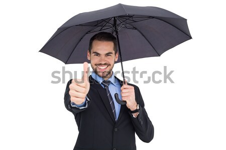 Businessman sheltering under black umbrella Stock photo © wavebreak_media