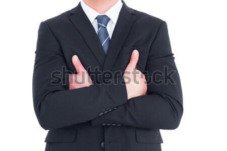 Középső rész üzletember keresztbe tett kar fehér vállalati profi Stock fotó © wavebreak_media
