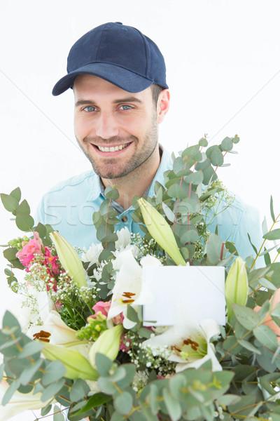 Mutlu buket portre beyaz hizmet Stok fotoğraf © wavebreak_media