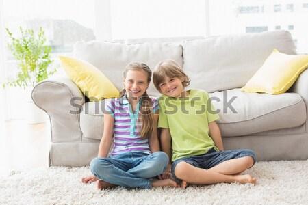 Testvérek néz egyéb ül szoba teljes alakos Stock fotó © wavebreak_media