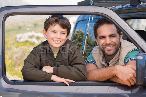 Apa fia út utazás napos idő autó férfi Stock fotó © wavebreak_media