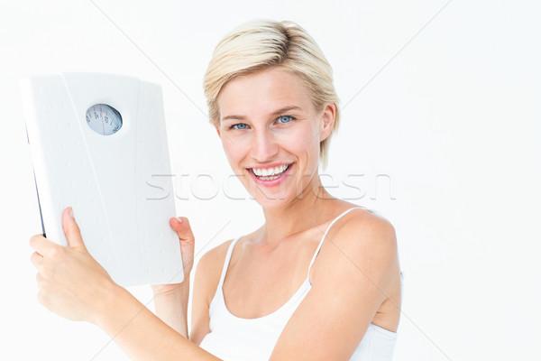 Mutlu sarışın kadın terazi beyaz kadın Stok fotoğraf © wavebreak_media