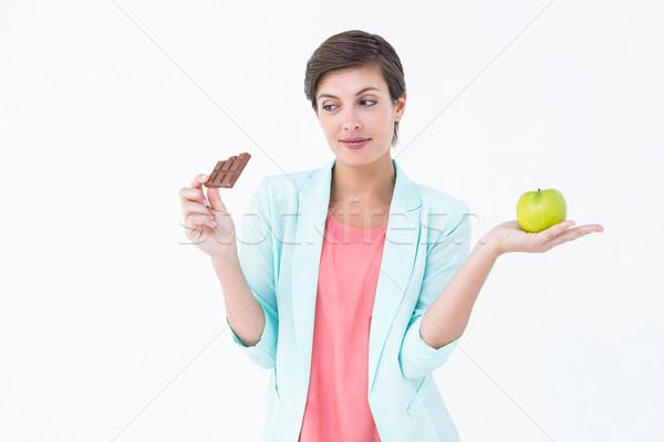 Esmer elma çikolata beyaz gıda Stok fotoğraf © wavebreak_media