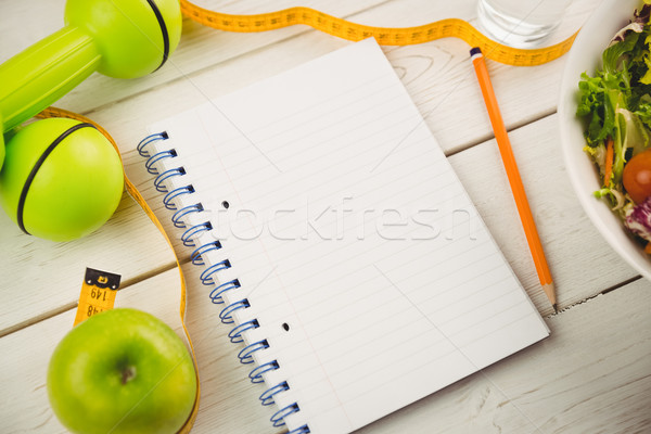 Notepad with indicators of healthy lifestyle Stock photo © wavebreak_media