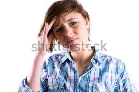 Bella bruna guardando fotocamera mal di testa bianco Foto d'archivio © wavebreak_media