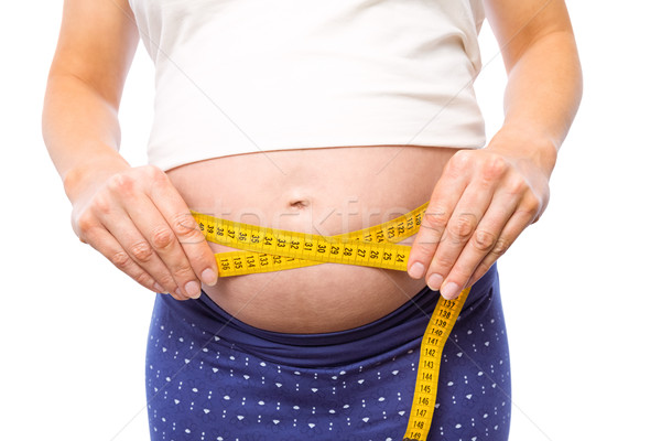 Terhes nő mér dudorodás fehér egészség női Stock fotó © wavebreak_media