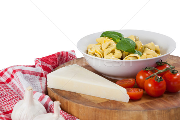 Macarrão queijo tomates alho guardanapo pano Foto stock © wavebreak_media
