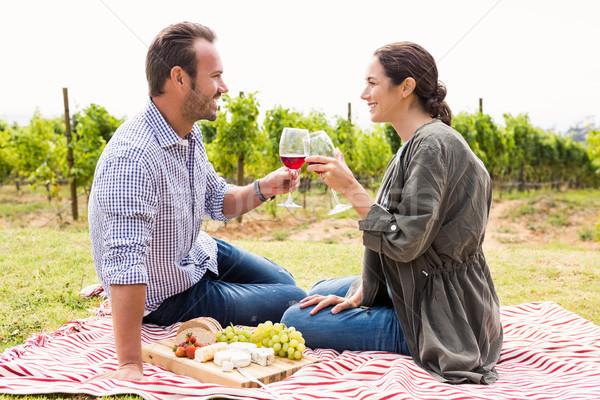 Smiling couple toasting red wineglasses Stock photo © wavebreak_media