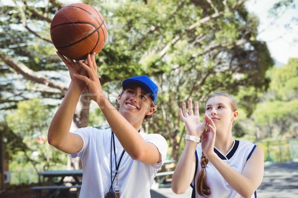 Coach opleiding rechter meisje bomen Stockfoto © wavebreak_media