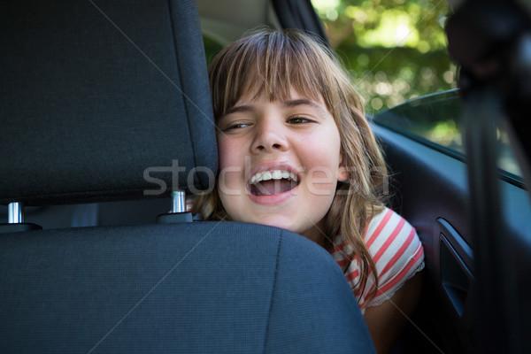 Posiedzenia powrót siedziba samochodu szczęśliwy Zdjęcia stock © wavebreak_media
