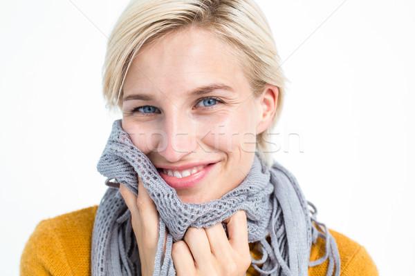 Mosolygó nő visel sál nagy nő ruházat Stock fotó © wavebreak_media