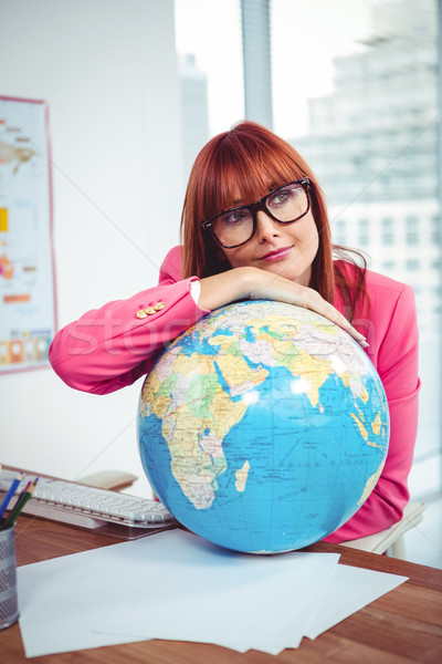Femme d'affaires monde bureau femme heureux Photo stock © wavebreak_media