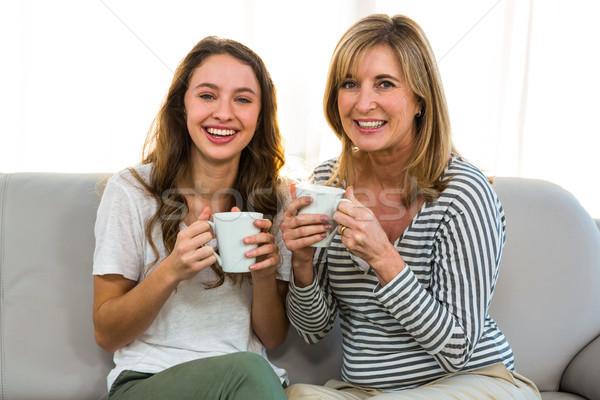 матери дочь пить чай домой женщину Сток-фото © wavebreak_media