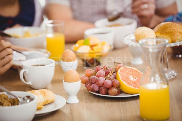 ストックフォト: 家族 · 朝食 · 一緒に · ホーム · 女性 · 男